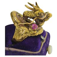 14K Early Chinese Export Dragon Ring with Diamonds & Pink Sapphire