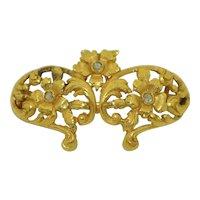 18K Art Nouveau Rose Cut Diamond Brooch