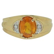 14K Orange Sapphire & Diamond Ring