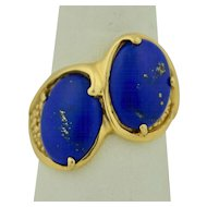 Very Large 14K Double Lapis Ring - 1970's