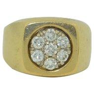 Retro Mens 14K Yellow Gold & Diamond Ring