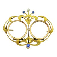Art Nouveau French 14K Gold Sapphire & Double Locket Pin / Brooch