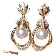 Exquisite Retro 15mm Pearl & Diamond Earrings 14K