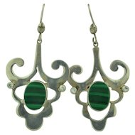 Vintage Sterling Silver Malachite & Quartz Earrings