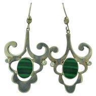 Vintage Sterling Silver Malachite & Quartz Earrings