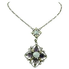 Arts & Crafts Sterling Silver Amethyst & bluster Pearl Necklace