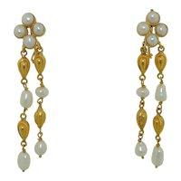 18K Yellow Gold & Pearl Dangle Drop Earrings
