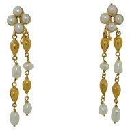 18K Yellow Gold & Pearl Dangle Drop Earrings