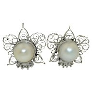 14K White Gold Pearl & Filigree Clip on Earrings