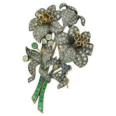 Victorian French (Paris) 18K & Silver Diamond Emerald & Sapphire Large Brooch