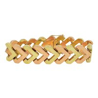 Art Deco 18K Rose and Yellow Gold Wide Bracelet