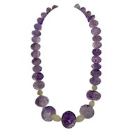 Massive Facet Cut Amethyst and Frosted Quartz Necklace