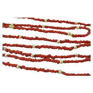50 Inch Natural Red Mediterranean Coral necklace