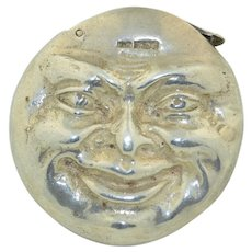Double Sided Man on the Moon Face Sterling Silver Match Safe Vesta
