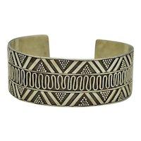 Vintage Sterling Silver Overlay Cuff Bracelet