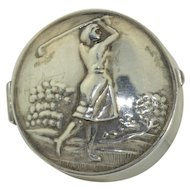 Vintage Sterling Silver Lady Golfer Pill or Trinket Box
