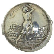 Vintage Sterling Silver Lady Golfer Pill or Trinket Box
