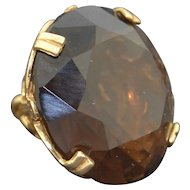 Retro Very Large 9K & Smokey Topaz Fob - Pendant- Charm