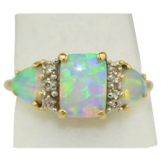 Super Fiery Natural Opal & Diamond Ring