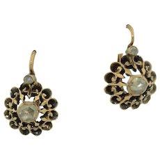 Georgian 18K & Rose Cut Diamond Earrings