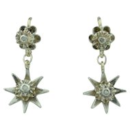 Victorian 10K & Silver with Rose Cut Diamond Star Dangle Earrings
