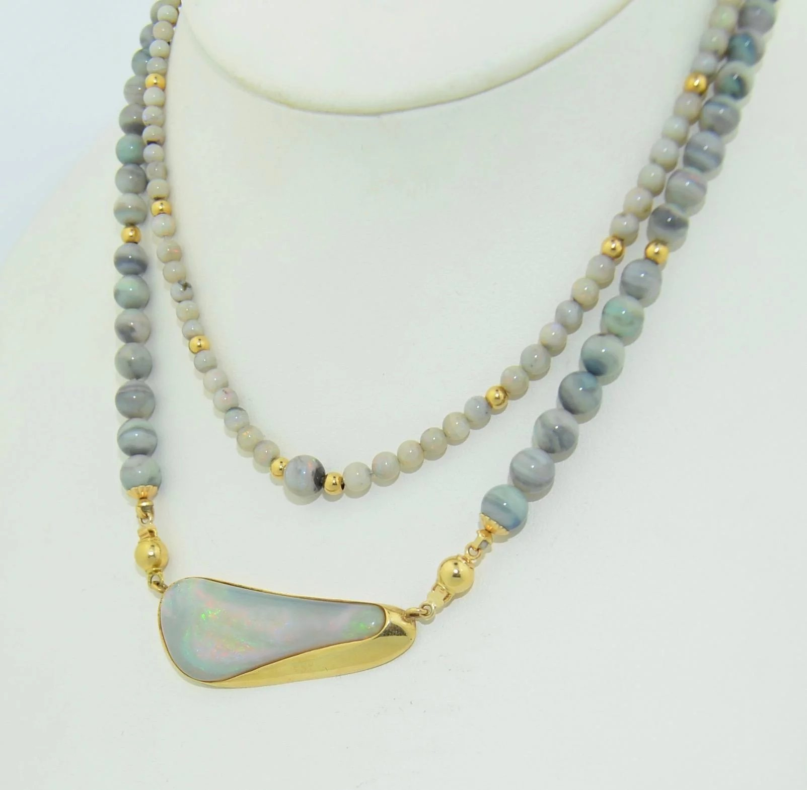 gold black opal store oval yellow in reflections necklace