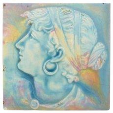 Art Nouveau Majolica High Relief Gypsy Tile 6x6