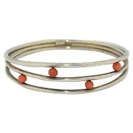 Franz Scheurle Modernist Sterling Silver & Coral Bracelet