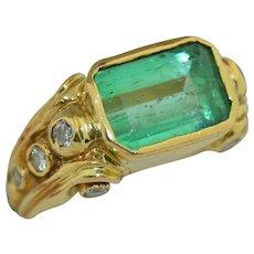 18K Art Nouveau 3CT Emerald and Diamond Ring