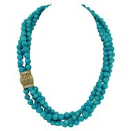 4 Strand Turquoise Necklace with Sterling Silver Clasp