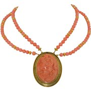 Victorian 14K Large Coral Hand Carved Warrior & Mermaid Cameo Necklace