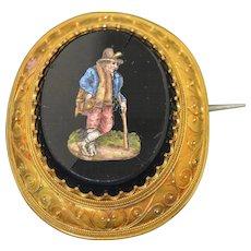 18K Etruscan Revival Micro Mosaic Brooch 4.5cm