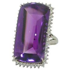 Platinum 50 Carat Buff Top Siberian Amethyst & 1CTW Diamond Ring - February Birthstone -