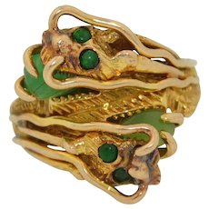 """Chinese 14K Jade """"Nose Dragon""""  Pinky Ring"""