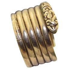 Very Wide Victorian 10K Six Coil Snake Ring SZ 12.5 Mens Ring