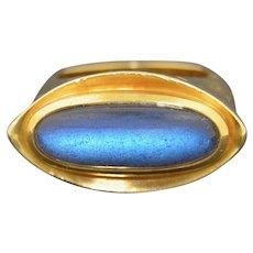 Modernist 18K Chunky Labradorite Ring