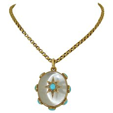 Victorian 18K Rock Crystal Persian Turquoise & Rose Cut Diamond Locket with 9K Belcher Chain