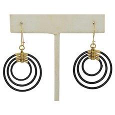 Victorian 14K Elephant Hair Triple Hoop Earrings. (10K ear wires)