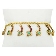 22K Yellow Gold Emerald & Ruby Snake Charm Bracelet 10.1 grams