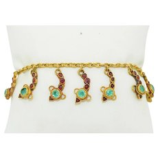 22K Yellow Gold Emerald & Ruby Snake Charm Bracelet 10.1 grams