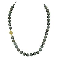 9.5mm Tahitian Black Pearl Necklace 14K & Diamond Clasp 18 Inch