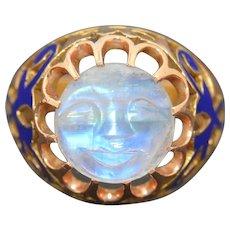 14K Rainbow Hand Carved Man In The Moon Moonstone & Enamel Ring