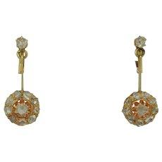 Victorian 14K Rose Cut Diamond Dangle Earrings