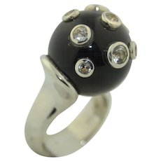 Unique Spinel Onyx & Sterling Silver Orb Ring