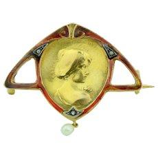 18K Enamel & Diamond Art Nouveau Pin