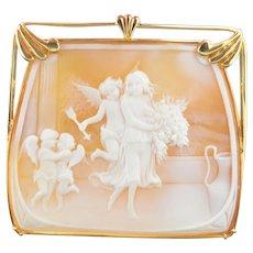 Amazing 14K Large Square Shell Angel Cameo Cherubs & Cupids Pendant - Brooch