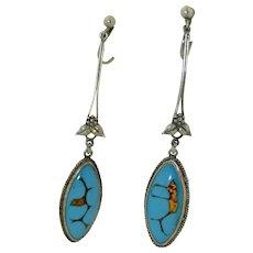 Art Nouveau Sterling Silver Art Glass Dangle Earrings in the Manner of Bernard Instone