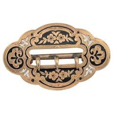 14K Victorian Enamel Belt Pin.  13.5 grams