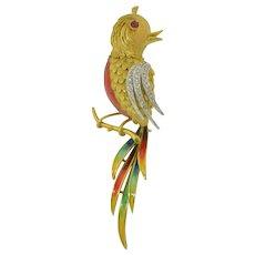 Very Large 18K Gold Enamel Diamond & Ruby Phoenix Bird Brooch