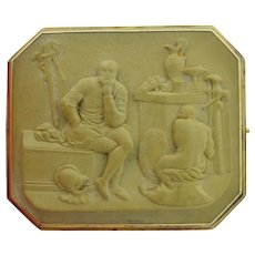 Signed 18K Victorian Lava Cameo Grand Tour Brooch